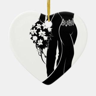 Ornamento De Cerâmica Silhueta do casamento dos noivos