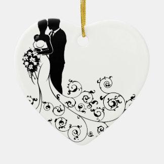 Ornamento De Cerâmica Silhueta do conceito do casamento dos noivos