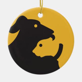 Ornamento De Cerâmica Silhueta do gato e do cão