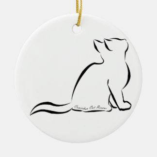 Ornamento De Cerâmica Silhueta do gato preto, texto interno