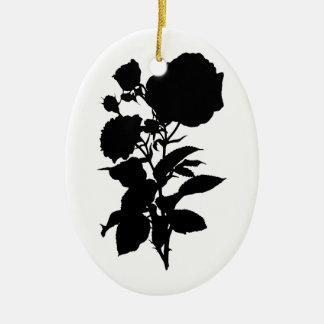 Ornamento De Cerâmica Silhueta do rosa do preto