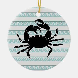 Ornamento De Cerâmica Silhueta do teste padrão de onda do caranguejo