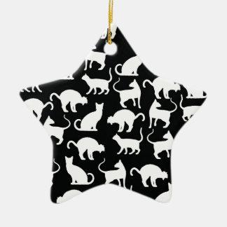 Ornamento De Cerâmica silhueta dos gatos