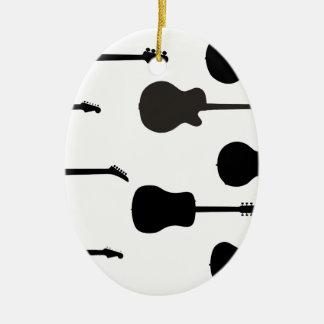 Ornamento De Cerâmica Silhuetas da guitarra da rocha