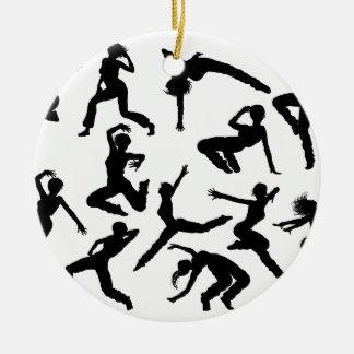 Ornamento De Cerâmica Silhuetas do dançarino da dança da rua