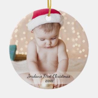 Ornamento De Cerâmica Sim do nome da foto do Natal do bebê personalizado