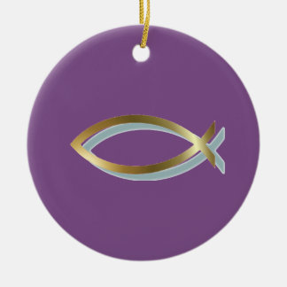 Ornamento De Cerâmica Símbolo cristão dos peixes do ouro