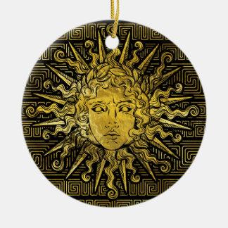 Ornamento De Cerâmica Símbolo de Apollo Sun no teste padrão chave grego