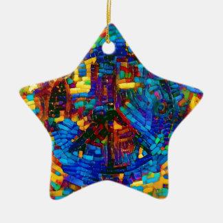 Ornamento De Cerâmica Símbolo de paz colorido do mosaico