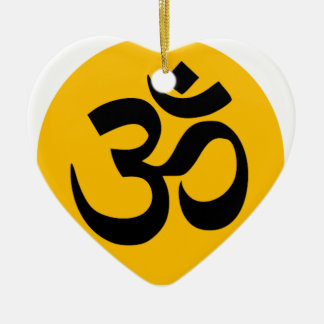 Ornamento De Cerâmica Símbolo do OM, círculo preto com ouro