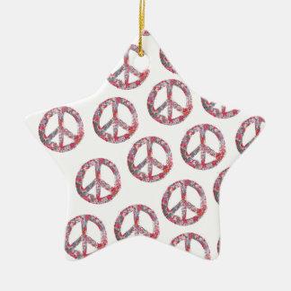 Ornamento De Cerâmica Símbolos de paz florais distante demasiado bonito