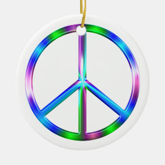Ornamento De Cerâmica Sinal de paz colorido brilhante