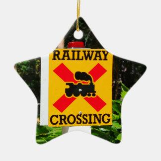 Ornamento De Cerâmica Sinal do cruzamento Railway