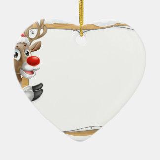 Ornamento De Cerâmica Sinal do Natal da rena do chapéu do papai noel