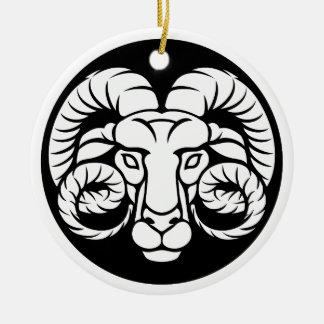 Ornamento De Cerâmica Sinal do zodíaco do Aries da ram