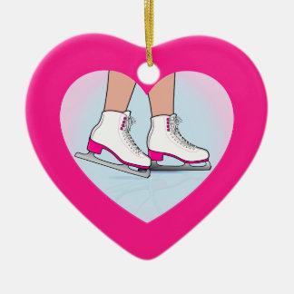 Ornamento De Cerâmica Skates em um coração