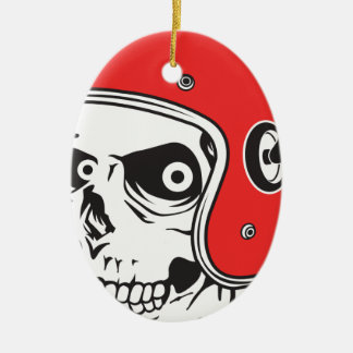Ornamento De Cerâmica ☞ Skullracer motorcycle helmet