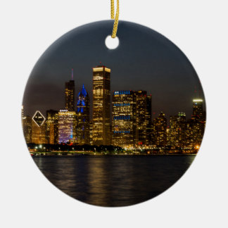 Ornamento De Cerâmica Skyline Chicago Pano da noite