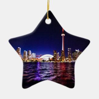 Ornamento De Cerâmica Skyline da noite de Toronto