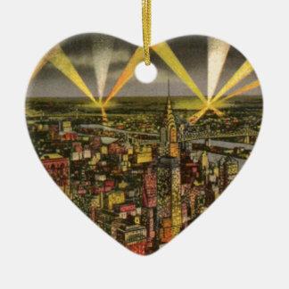 Ornamento De Cerâmica Skyline da Nova Iorque do vintage