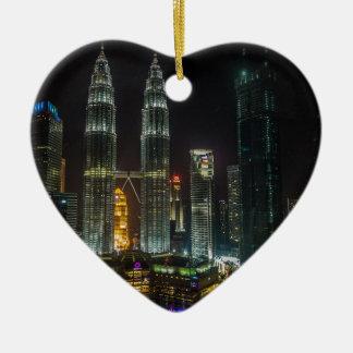 Ornamento De Cerâmica Skyline de Kuala Lumpar na noite