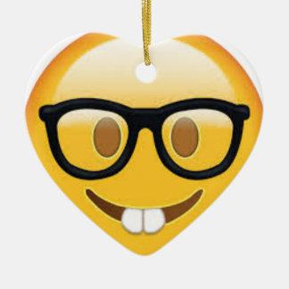Ornamento De Cerâmica Smiley face Geeky de Emoji