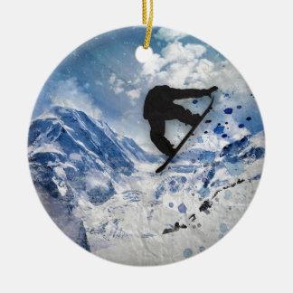 Ornamento De Cerâmica Snowboarder em vôo