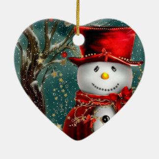 Ornamento De Cerâmica Snowmans bonitos - ilustração do boneco de neve