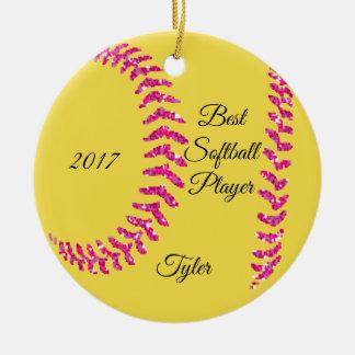 Ornamento De Cerâmica Softball cor-de-rosa Stiches do brilho