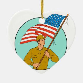 Ornamento De Cerâmica Soldado americano que acena o desenho do círculo