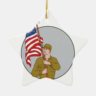 Ornamento De Cerâmica Soldado americano que guardara o desenho do