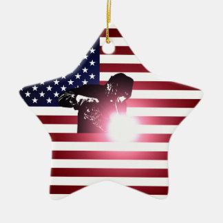 Ornamento De Cerâmica Soldador e bandeira americana