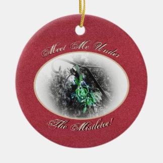 Ornamento De Cerâmica Solstício de inverno rústico de Yule do visco