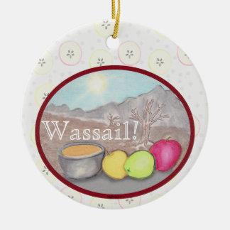 Ornamento De Cerâmica Solstício de Yule das maçãs de Wassail