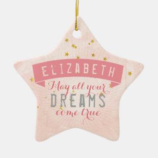 Ornamento De Cerâmica Sonhos doces do bebê cor-de-rosa do balé