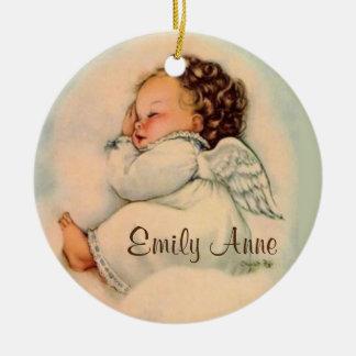 Ornamento De Cerâmica Sono personalizado do anjo do bebé