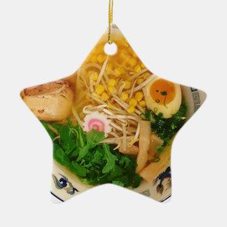 Ornamento De Cerâmica Sopa de macarronete dos Ramen da carne de porco
