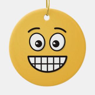 Ornamento De Cerâmica Sorrindo a cara com olhos abertos