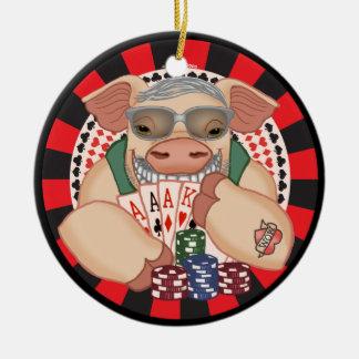 Ornamento De Cerâmica Sorrindo o porco do póquer