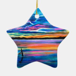 Ornamento De Cerâmica Sozinho esquerdo uma pintura do barco do seascape