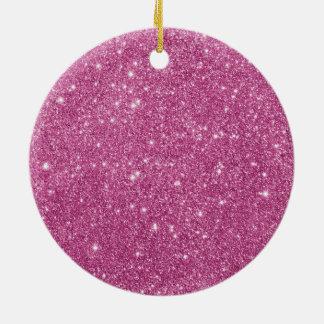 Ornamento De Cerâmica Sparkles do brilho do rosa quente