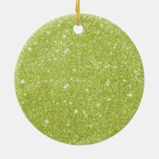 Ornamento De Cerâmica Sparkles do brilho do verde limão
