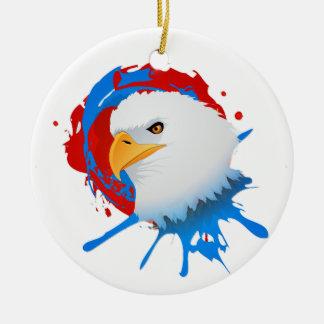 Ornamento De Cerâmica Spatter branco da águia americana americana & azul