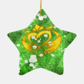 Ornamento De Cerâmica Splatter celta irlandês de Claddagh