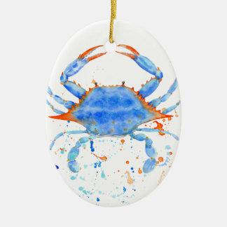 Ornamento De Cerâmica Splatter da pintura do caranguejo azul da aguarela