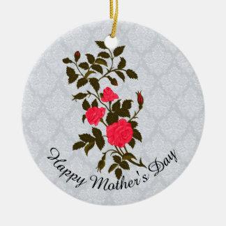 Ornamento De Cerâmica Sprig do rosa do rosa do dia das mães