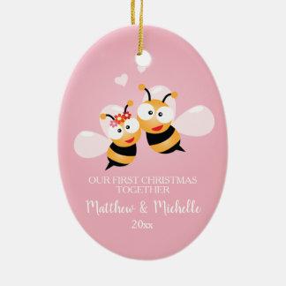 Ornamento De Cerâmica Sr. bonito e Sra. Mel Abelha Primeiro Natal junto