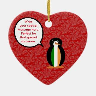 Ornamento De Cerâmica Sr. irlandês Pinguim do feriado