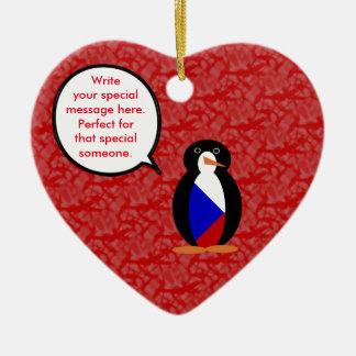 Ornamento De Cerâmica Sr. Pinguim do feriado da república checa