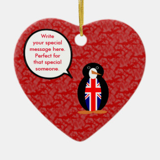 Ornamento De Cerâmica Sr. Pinguim do feriado de Reino Unido